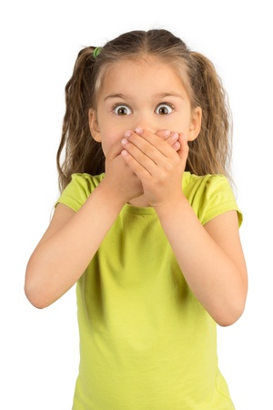 Cute Little Girl Covering Her Mouth Showing Intense Expression of Fear and Terror, Isolated Stock Photo