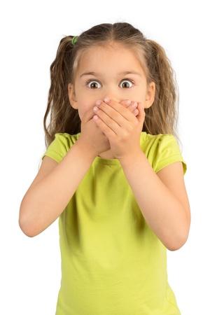 boca cerrada: Niña linda que cubre la boca mostrando la expresión intensa de miedo y terror, aislado