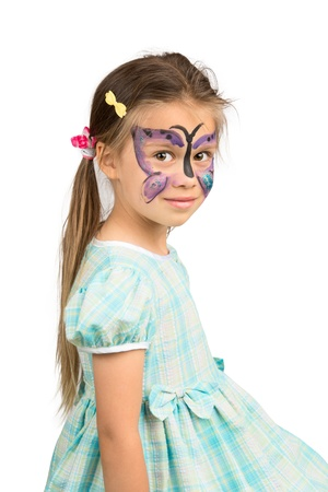 preteen model: Little Girl With Butterfly Face Painting, Isolated
