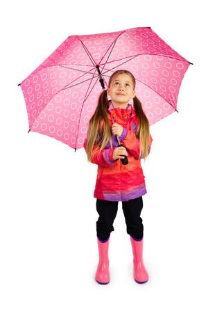 Petite fille avec le grand parapluie rose Banque d'images - 27337953