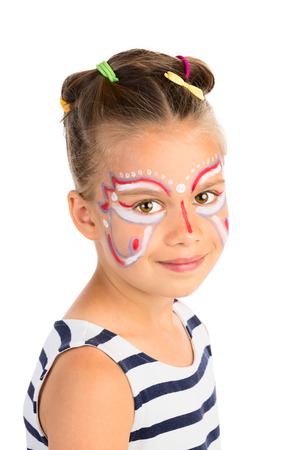 Head portrait of a little girl with abstract  face painting, isolated