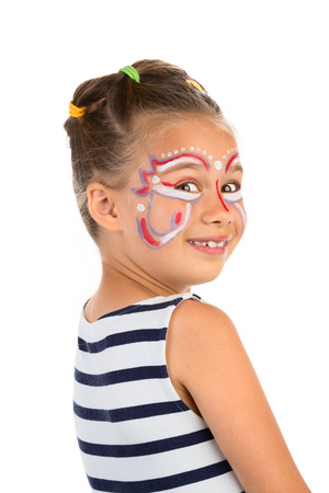 Little Girl With Abstract  Face Painting, Isolated photo