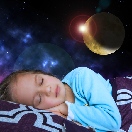 Science fiction illustration: little girl sleeps with a background of space formations