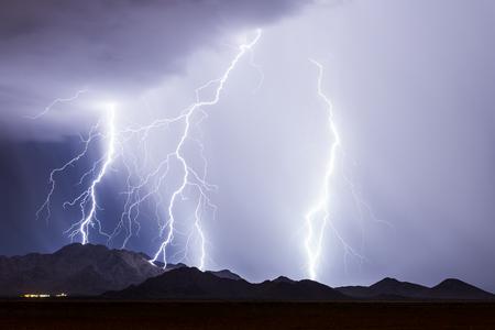 Onweer met heldere blikseminslagen
