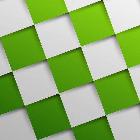 3d green oblique squares in square background, background concept Vector
