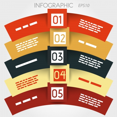 arc infographic five options in big squares in middle. infographic concept. Stock Vector - 20135852
