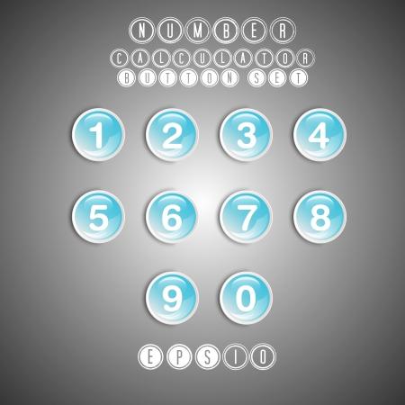 cocnept: calculator blue number button set, button cocnept