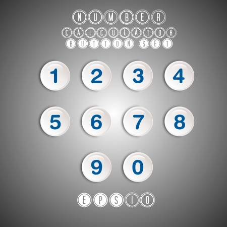 cocnept: calculator white number button set, button cocnept Illustration