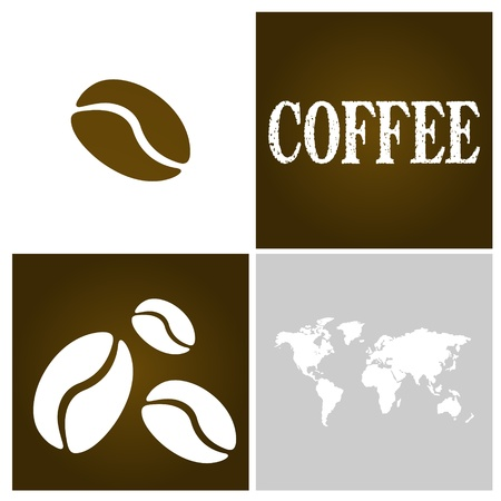 coffe beans: coffee square picture. coffee concept Illustration