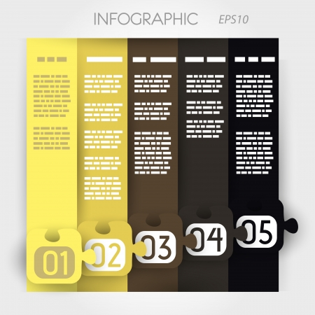 column infographic five options in big down puzzle. infographic concept. Stock Vector - 20136030