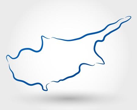 キプロスの地図マップの概念