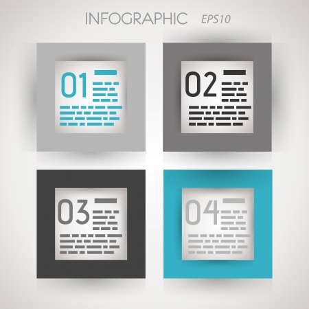 grey and blue square four options. infographic concept. Stock Vector - 20135838