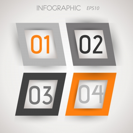 grey and orange oblique square four options. infographic concept. Stock Vector - 20135865