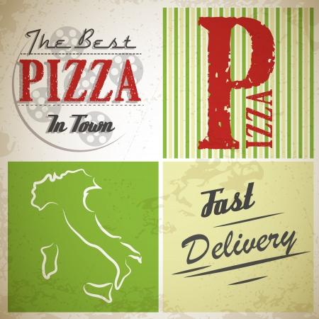 grunge quadrados de pizza. conceito de pizza Ilustra��o