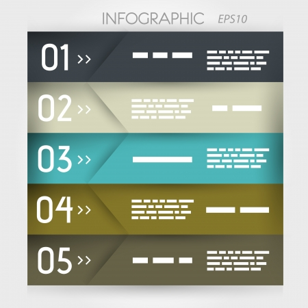 infographic five olique options in middle. infographic concept. Stock Vector - 20135953