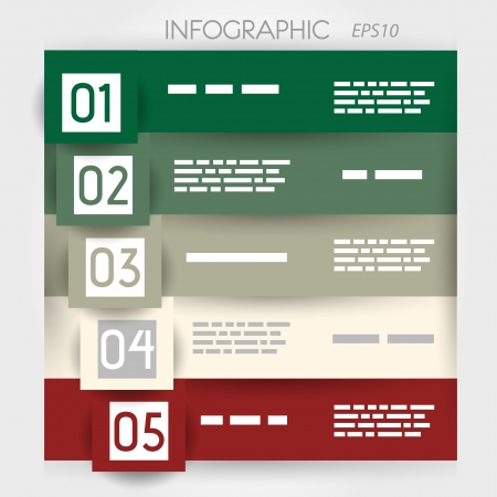 big five: infographic five options in big squares . infographic concept.