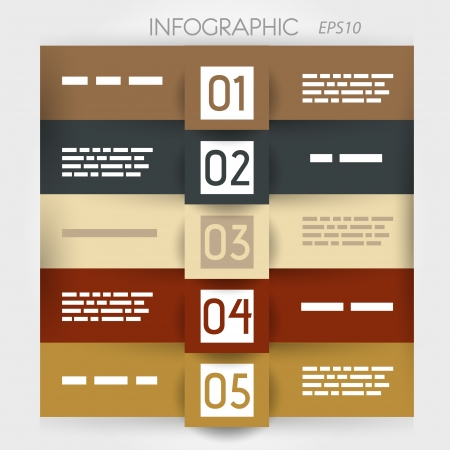 big five: infographic five options in big squares. infographic concept.
