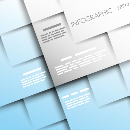 light blue square background with 3d squares. infographic concept. Vector