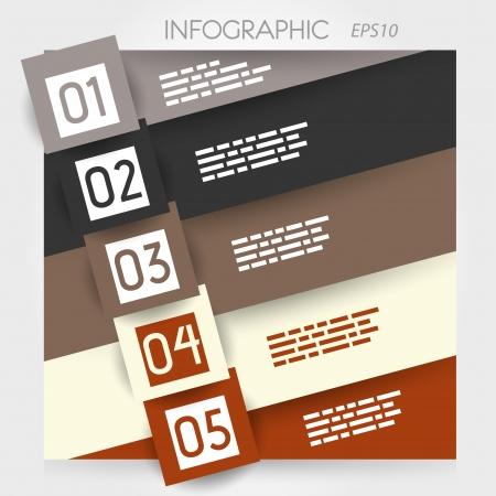 oblique line infographic five options in big oblique squares. infographic concept. Stock Vector - 20135984