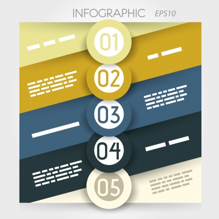 oblique: oblique line infographic five options in big rings in middle. infographic concept. Illustration