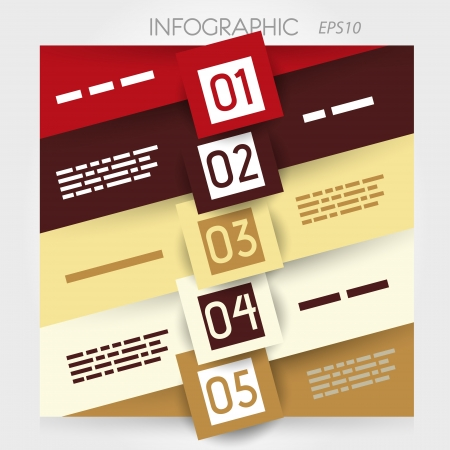 oblique line infographic five options in big squares in middle. infographic concept. Stock Vector - 20136002