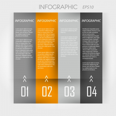 info graphic: orange infographic 4 columns. infographic concept. Illustration