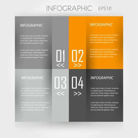 the four elements: orange infographic 4 squares. infographic concept. Illustration