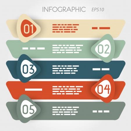 #20136004   Rouned Schrägen Infografik Fünf Optionen In Großen  Zick Zack Pfeile. Infografik Konzept.