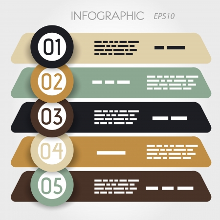 oblique: rouned oblique infographic five options in big rings. infographic concept. Illustration