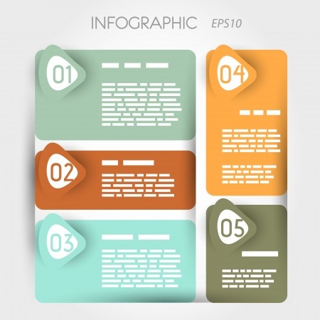 rounded suare infographic five options with arrows. infographic concept. Vector