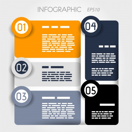 rounded suare infographic five options with big rounded rings. infographic concept. Vector