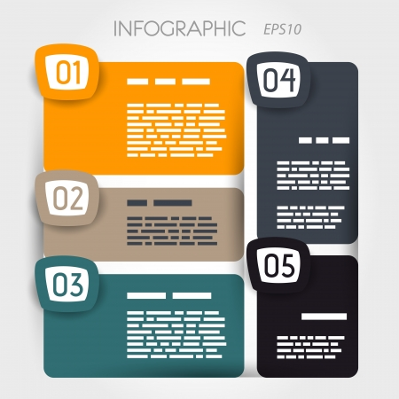 rounded suare infographic five options with big rounded squares. infographic concept. Vector