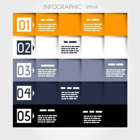 square infographic five options number squares and shadow squares  infographic concept  Vector