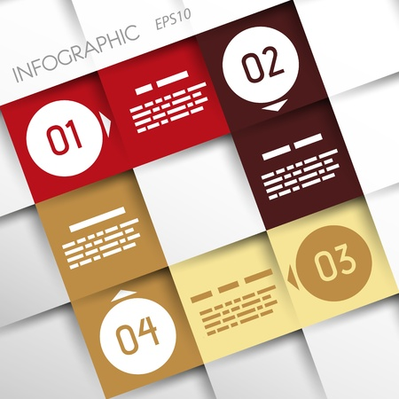 square infographic four options with rings  infographic concept Stock Vector - 20136000