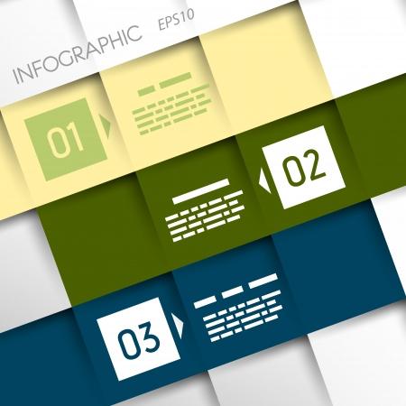 vierkante inforgraphic drie schuine opties infographic begrip Stock Illustratie