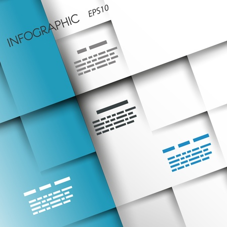 square infographic white and blue background  infographic concept  Stock Illustratie