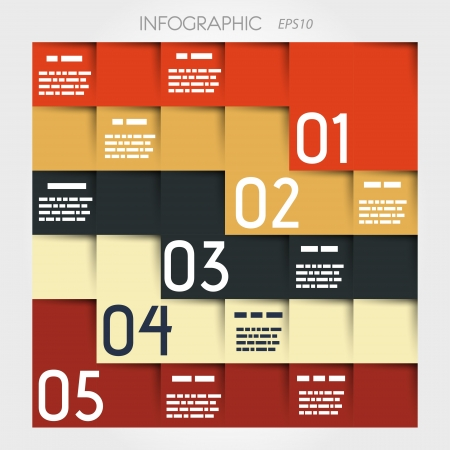 zig-zag five options square infographic  infographic concept