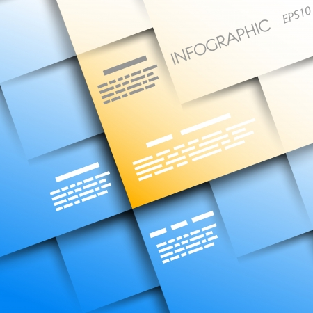 blue and orange square backgroundwith 3d squares  infographic concept  Vector