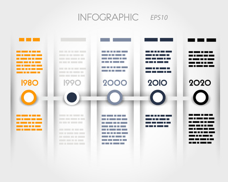 color timeline with rings an columns  infographic concept  Stock Illustratie