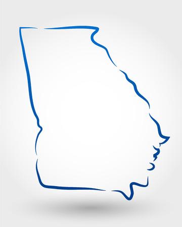 kaart van Georgië. kaart-concept Stock Illustratie