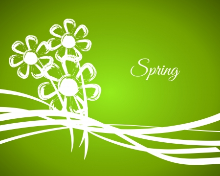 green spring background with white flowers, spring cocnept Vector