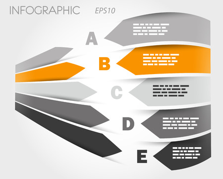grey and orange 3d infographic with labels. infographic concept. Stock Vector - 22289434
