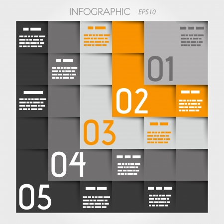 grey and orange five L options square infographic. infographic concept.