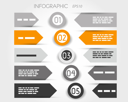 grey and orange infographic with labelsand rings in middle. infographic concept. Vector