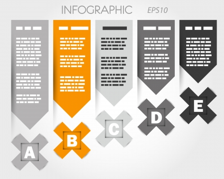 grey and orange infographic with x and labels. infographic concept. Vector