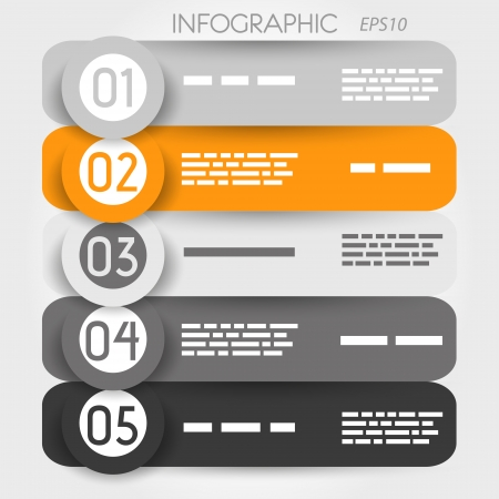 grey and orange rounded infographic with big rings. infographic concept. Vector