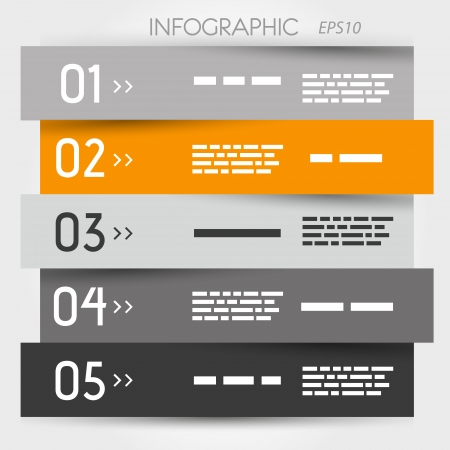 grey and orange zig zag five options. infographic concept. Vector