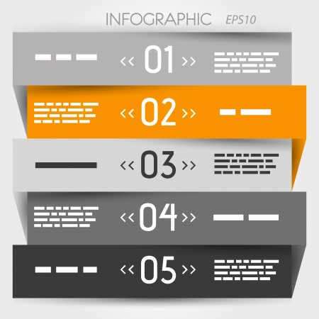 grey and orange zig zag five options in middle. infographic concept. Vector