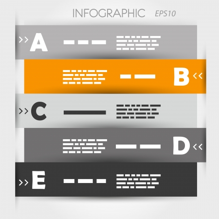 grey and orange zig zag five options with letters. infographic concept. Vector