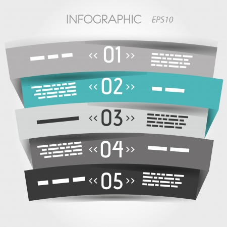 grey and turquoise arc zig zag five options. infographic concept.